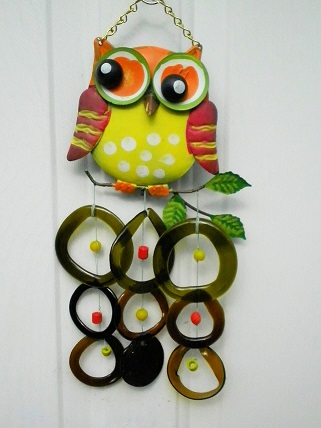 Yellow & Orange Owl with Green Rings and Yellow & Orange Beads - Glass Wind Chimes