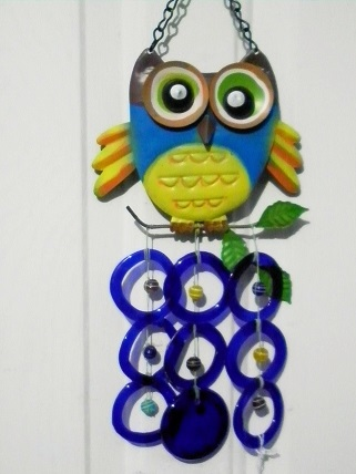 Blue & Yellow Owl with Blue Rings - Glass Wind Chimes