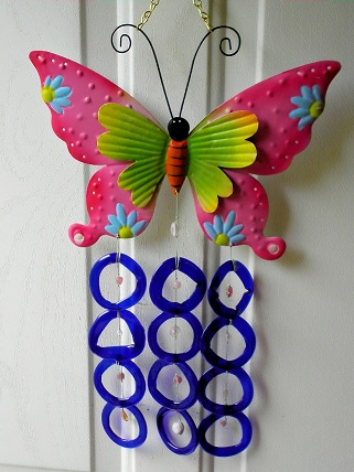 Pink Double Wing Butterfly with Blue Rings - Glass Wind Chimes