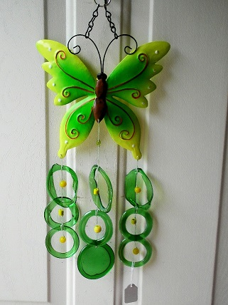 Green & Yellow Butterfly with Green Rings - Glass Wind Chimes