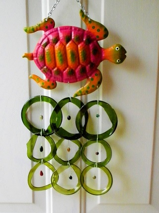 Red Turtle with Green Rings - Glass Wind Chimes
