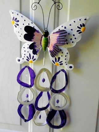 Purple & White Double Wing Butterfly with Blue & Clear Rings - Glass Wind Chimes
