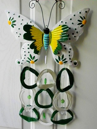 Green & White Double Wing Butterfly with Green, White, & Clear Rings - Glass Wind Chimes