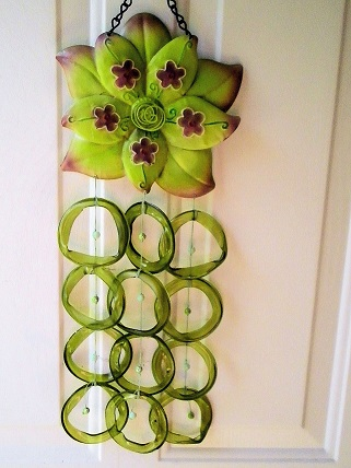 Green Dahalia with Green Rings - Glass Wind Chimes