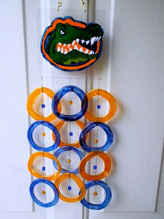 Florida Gators with Blue & Orange Rings - Glass Wind Chimes