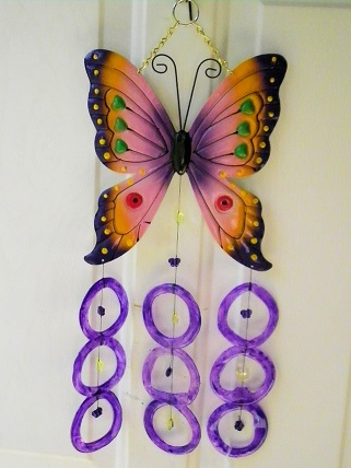 Pink & Purple Butterfly with Purple Rings - Glass Wind Chimes
