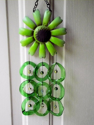 Green Sunflower with Green Rings - Glass Wind Chimes
