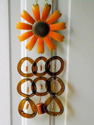 Orange Sunflower with Brown Rings - Glass Wind Chimes