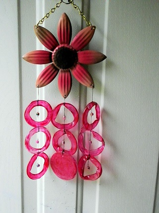 Pink Daisy with Pink Rings - Glass Wind Chimes