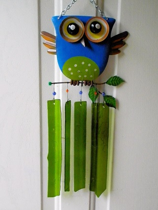 Blue Owl with Green Glass Strips - Glass Wind Chimes