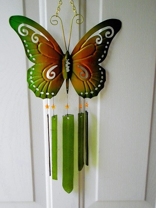 Green Butterfly with Green Glass Strips - Glass Wind Chimes