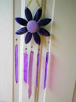 Purple Flower with Purple Glass Strips - Glass Wind Chimes