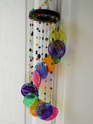 Multi Colored Spiral with Solid Rings - Glass Wind Chimes