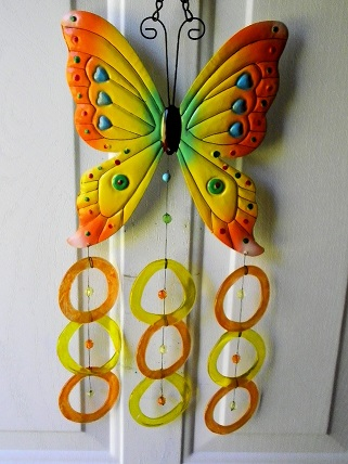 Yellow & Orange Butterfly with Yellow & Orange Rings - Glass Wind Chimes