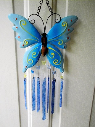 Blue Butterfly with Blue Glass Strips - Glass Wind Chimes