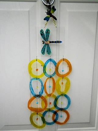 Painted Dragonfly with Multi Colored Rings - Glass Wind Chimes