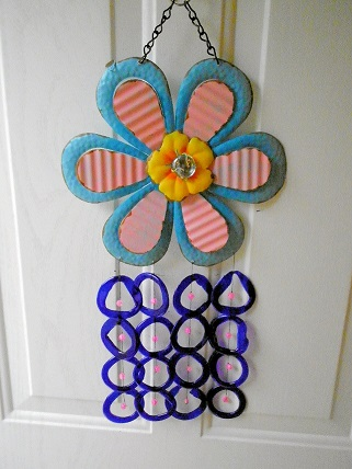 Large Blue Flower with Blue Rings - Glass Wind Chimes