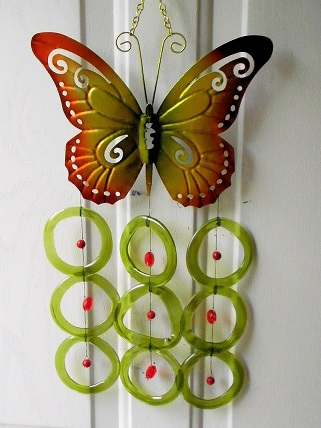 Red & Gold Buterfly with Green Rings - Glass Wind Chimes