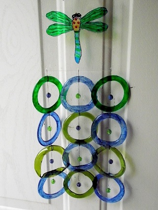 Green & Blue Dragonfly with Green & Blue Rings - Glass Wind Chimes