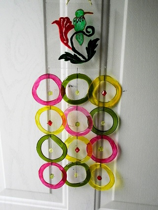 Green Hummingbird with Multi Colored Rings - Glass Wind Chimes