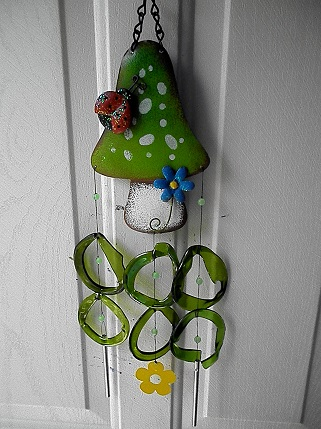Green Mushroom with Green Rings - Glass Wind Chimes
