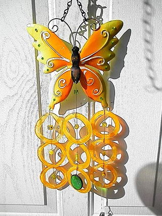 Yellow Butterfly with Yellow Rings - Glass Wind Chimes