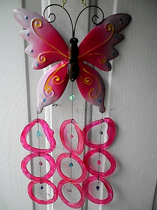 Pink Butterfly with Pink Rings - Glass Wind Chimes