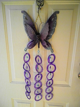 Purple Butterfly with 36 Purple Rings - Glass Wind Chimes