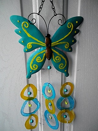 Aqua Butterfly with Aqua & Yellow Rings - Glass Wind Chimes