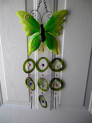 Green Butterfly with Green Rings - Glass Wind Chimes