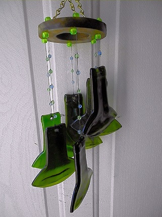 Spiral with Green Necks & Green Beads - Glass Wind Chimes