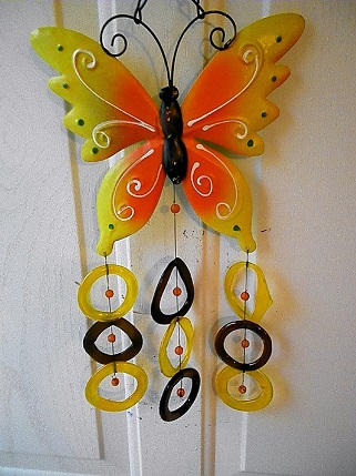 Orange Butterfly with Yellow & Brown Rings - Glass Wind Chimes