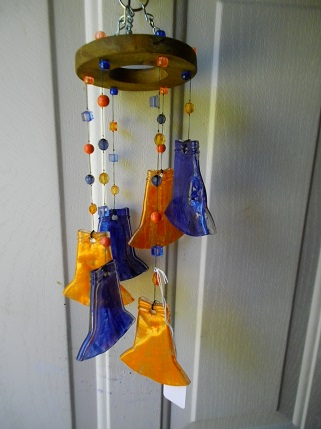 Orange and Blue Neck Spiral - Glass Wind Chimes