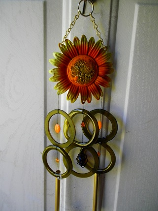 Gold Sunflower with Green Rings - Glass Wind Chimes