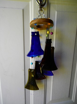 Multi Colored Bottle Necks - Glass Wind Chimes