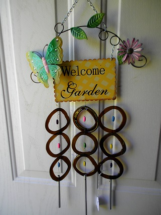 Welcome Garden with Brown Rings - Glass Wind Chimes