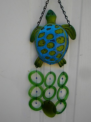 Blue Green Turle with Green Rings - Glass Wind Chimes
