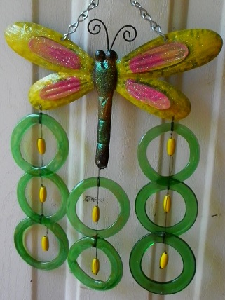 Dragonfly Yellow with Green Rings - Glass Wind Chimes