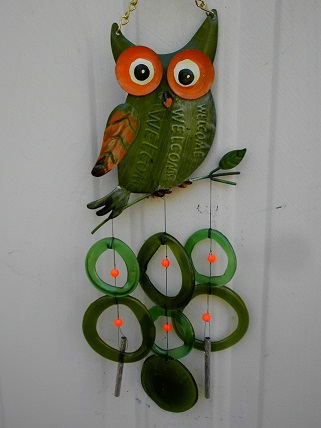 Green Owl with Green Rings - Glass Wind Chimes
