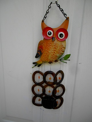 Orange Owl with Brown Ring & Orange Stars - Glass Wind Chimes