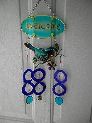 Blue Bird Welcome with Blue Rings - Glass Wind Chimes