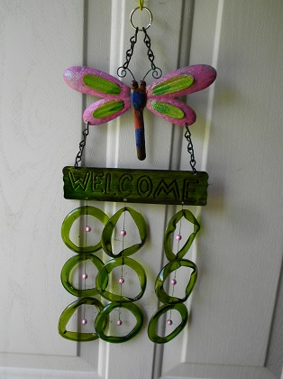 Dragon Fly Welcome with Green Rings - Glass Wind Chimes