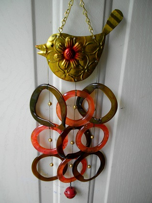 Gold Bird with Red & Brown Rings - Glass Wind Chimes