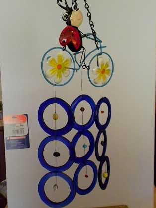 Lady Bug Bicycle with Blue Rings Glass Wind Chime