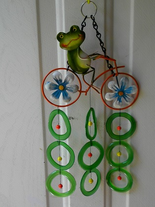 Frog on Bicycle with Green Rings - Glass Wind Chimes