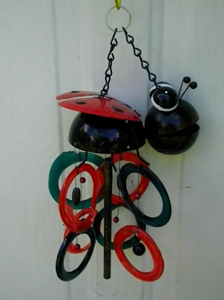 Lady Bug with Multi Colored Rings - Glass Wind Chimes