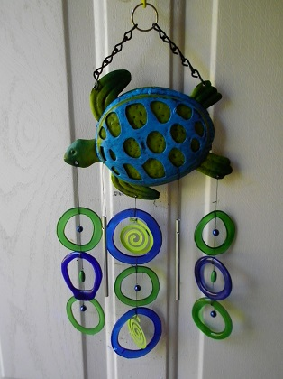 Blue & Green Turtle with Blue & Green Rings - Glass Wind Chimes