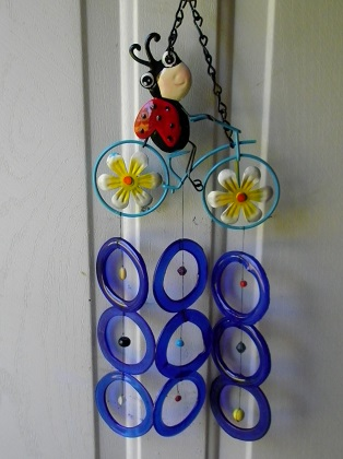 Lady Bug on Bicycle with Blue Rings - Glass Wind Chimes