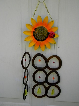 Lady Bug on Sunflower with Brown Rings - Glass Wind Chimes