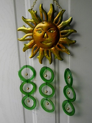 Sun with Green Rings - Glass Wind Chimes